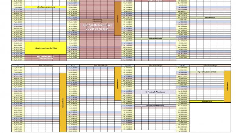 Aktualisierter Rahmenterminplan für die Saison 2020!