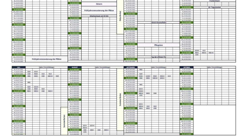 Rahmenterminplan für die Saison 2021